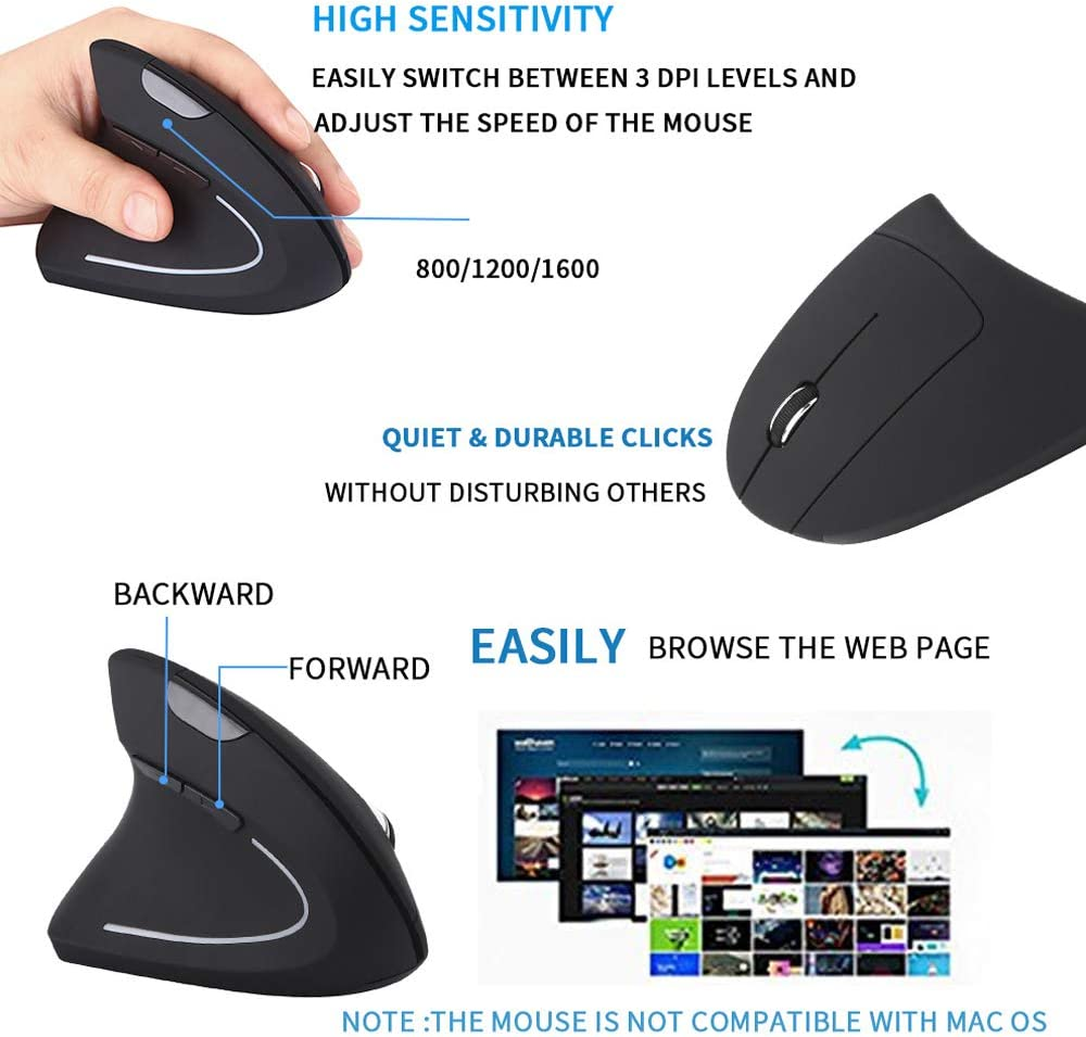 PC Black 800//1200//1600 DPI?5 Buttons for Laptop Desktop MacBook 2.4G Wireless Left Handed Ergonomic Wireless Vertical Mouse