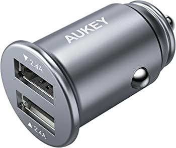 Aukey 24W Output Aluminum Alloy Flush Fit & 4.8A Dual USB Car Charger