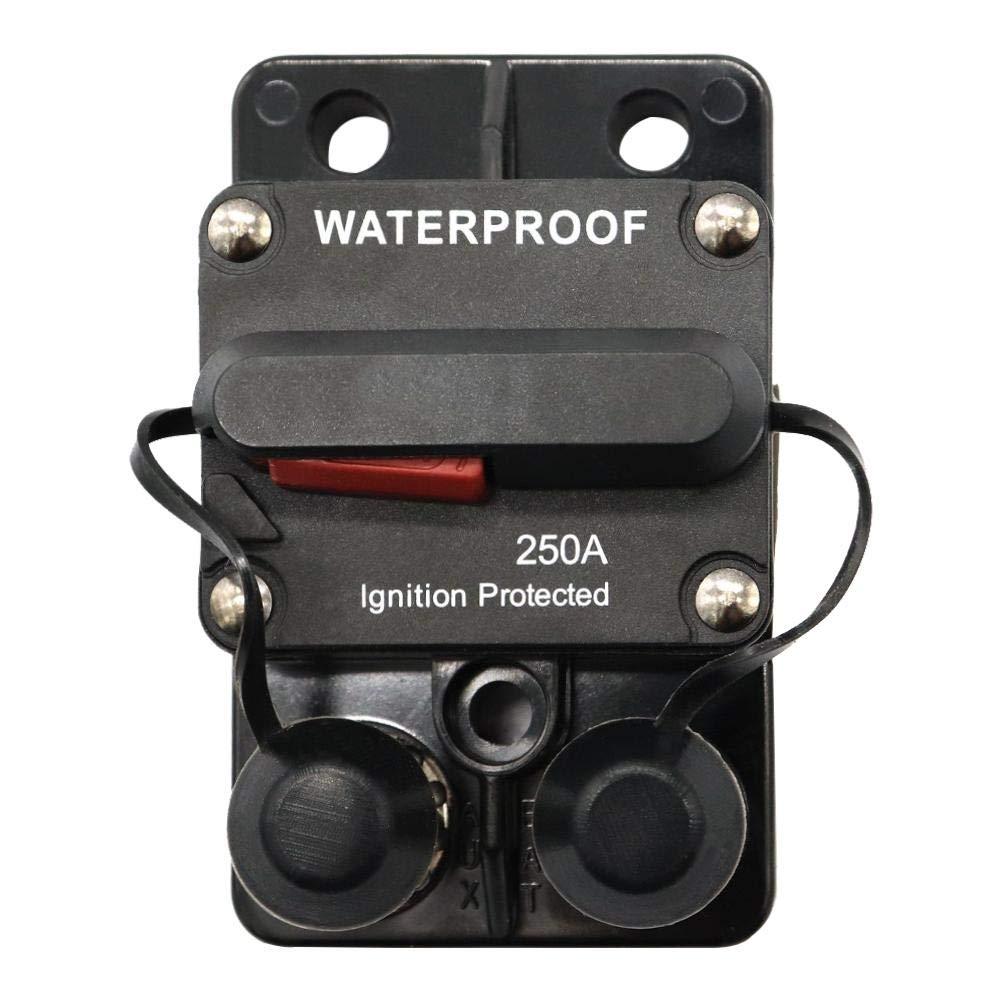 Everpert 250 Amp Circuit Breaker with in-line Power Manual Reset Waterproof Car Marine Stereo Audio Fuse (250A)