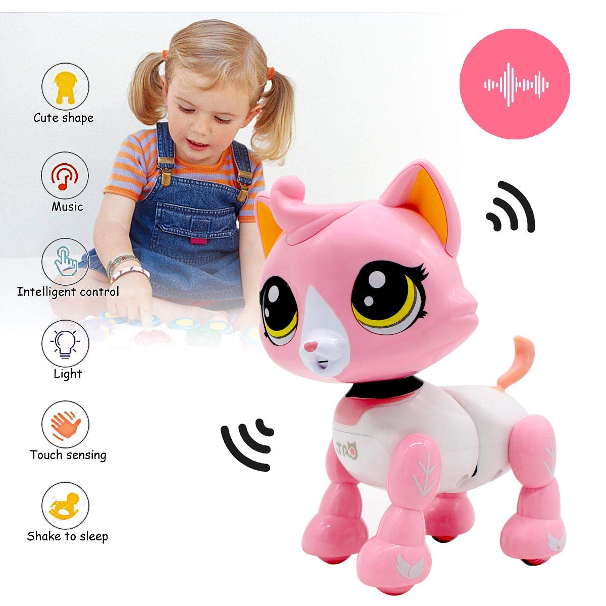 Yehtta Gifts for 3-8 Year Old Girls Robot Cat Toddler Interactive Toy Pet Autism Toys Electronic Toy Catty Kids Gifts Pink