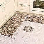 KEPSWET 2-Piece Simple Livingroom/Bedroom/Bathroom Rugs Washable Kitchen Rug Runner High Pile Door Mat Brown Floor Mat (13x20+13x40, Light Brown)