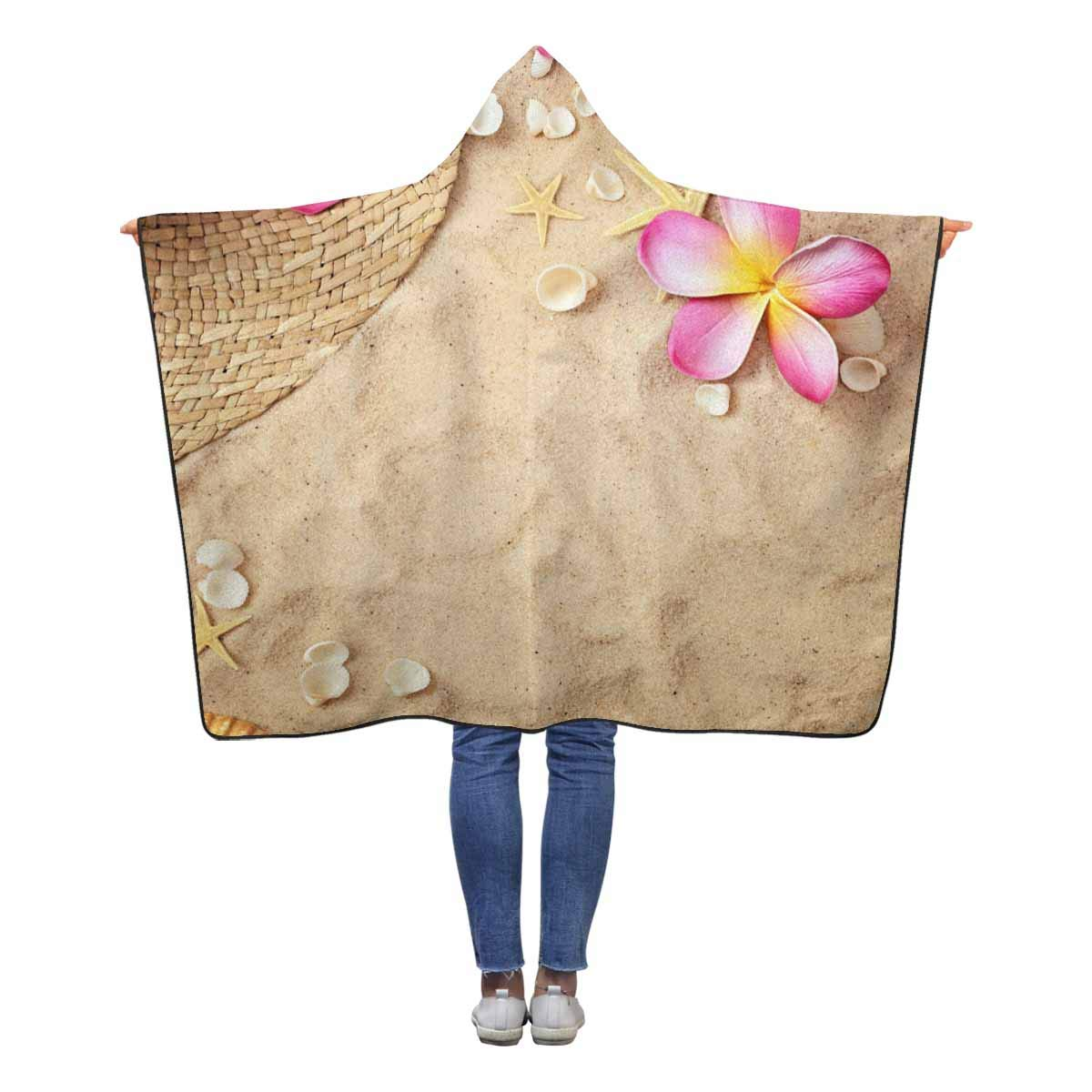 InterestPrint ビーチヤシの木 着用可能なフード付きブランケット 60 x マルチ2 50インチ フード付き 子供 女の子 男の子 50