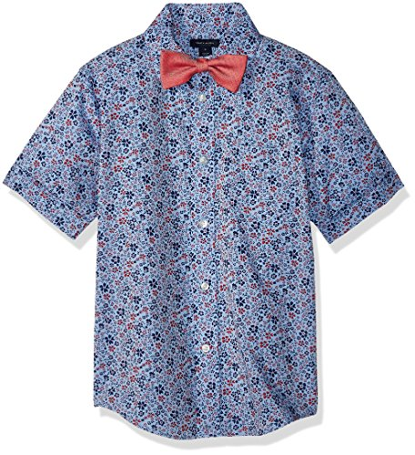 - Tommy Hilfiger Boys' Big Short Sleeve Woven Shirt with Bow Tie, Cherry Popsicle, 16