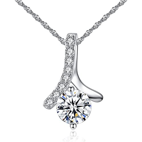 CJbrother Damen Halskette mit Anhänger aus 925 Sterling Silber mit  Kristall. Silberkette Länge  45 19f5b5490a