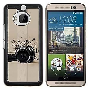 Be-Star Único Patrón Plástico Duro Fundas Cover Cubre Hard Case Cover Para HTC One M9+ / M9 Plus (Not M9) ( Cuffie Musica di amore vernice nera Art )