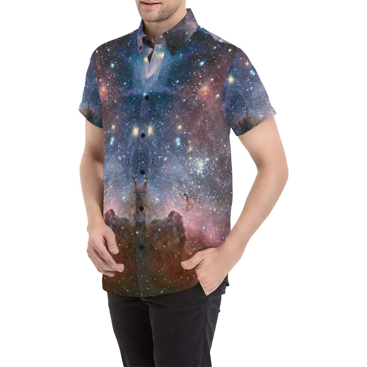 UlanLi Milky Way Mens All Over Print Short Sleeve Shirt//Large Size