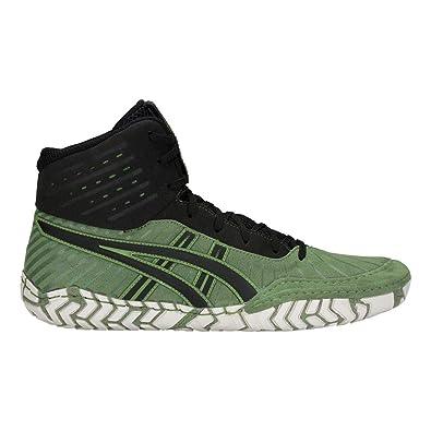 meet d393e 12c8c ASICS Aggressor 4 Men s Wrestling Shoes, Cedar Green Black, ...