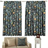zojihouse Explore Sliding Door Curtain Energy Efficient Thermal Insulated Cartoon Traveling Pattern with Coins Credit Cards Compass and Roads Doodle Design W55.5xL63 Multicolor