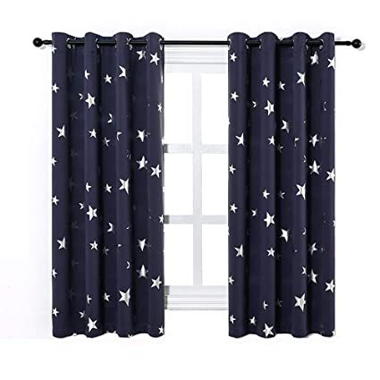 Anjee Navy Blue Star Print Blackout Curtains For Kids Room 2 Panels Thick