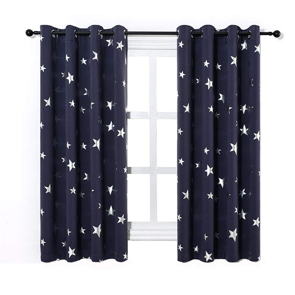 Anjee Navy Blue Star Print Blackout Curtains for Kids Room (2 Panels), Thick Thermal Insulated Window Drapes for Living Room, Light Blocking Decoration Curtain Panels for Studio, W52 x L63 In
