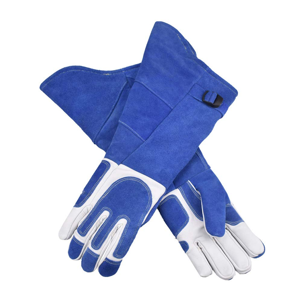 LAIABOR Welding Gloves Longer Extreme Heat fire Resistant with Kevlar Stitching Heavy Duty Welders Gauntlet Lined Fireplace Grill BBQ Animal handling Gardening Wood,BlueAsh by LAIABOR (Image #3)