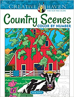 Amazon Com Creative Haven Country Scenes Color By Number Coloring