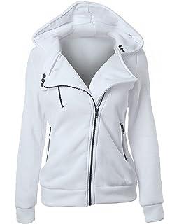 Minetom Mujer Otoño Casual Ropa De Abrigo Inclinado Cremallera Diseño Sudaderas Con Capucha Deportes Sweatshirt