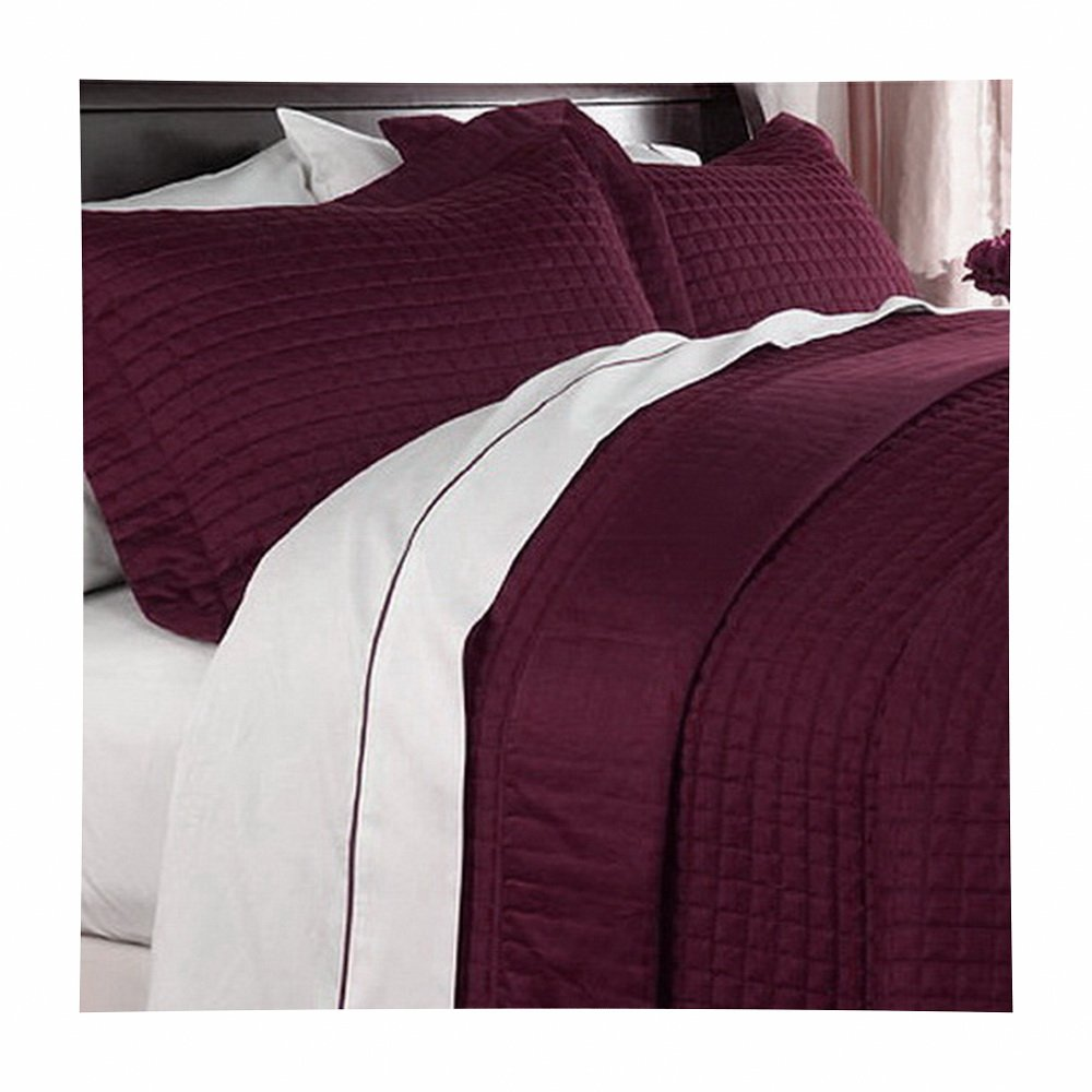 Modern Solid Pattern Style Quilt Coverlet and Sham Set All Season Hypo-Allergic Lightweight Reversible 3 Piece Full/Queen Bedding Red Burgundy by Hotel Style (Image #1)