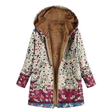 a48ccd752e6886 Bealeuy Winterjacke Parka Damen Warm Outwear Blumendruck mit Kapuze Taschen  Vintage Oversize Coats Jacken Winter Anorak