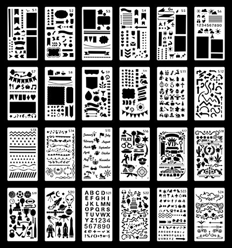 Wanderings Bullet Journal Stencil Set | Reusable Plastic Stencils for Journaling, Painting, Scrapbooking, Diary, Arts, Crafts | 24 Templates | Numbers, Letters, Shapes, Patterns, Borders | 4x7