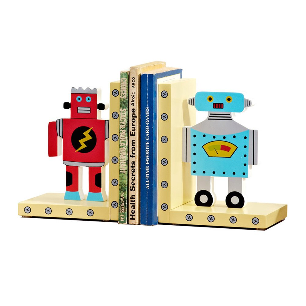HEYFAIR Cute Cartoon Robots Kids Room Bookends Home Desk Decorations