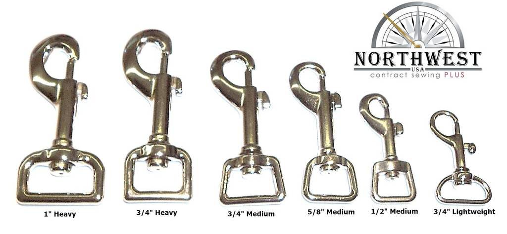 "Nickel plated, Medium weight Swivel Snap hook for 5/8"" webbing or straps. (10 pcs)"