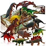 """Dinosaur Figures, Dinosaur Set Large Plastic Dinosaur Toys With Dinosaur Book 12 pcs ( 6 pcs 10"""",6pcs 6"""")"""