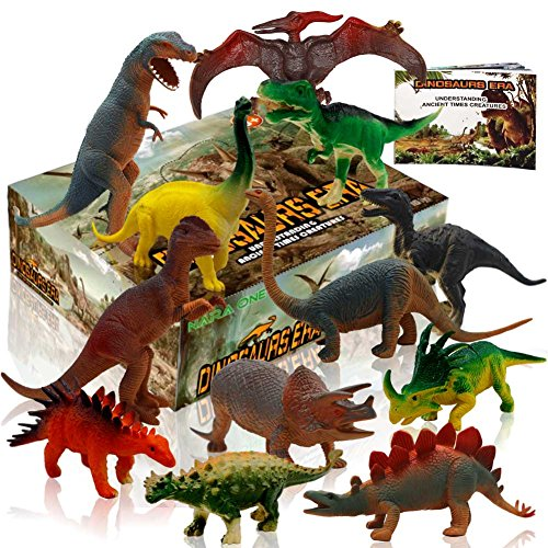 Dinosaur Figures, Dinosaur Set Large Plastic Dinosaur Toys With Dinosaur Book 12 pcs ( 6 pcs 10'',6pcs 6'') by NARA ONE