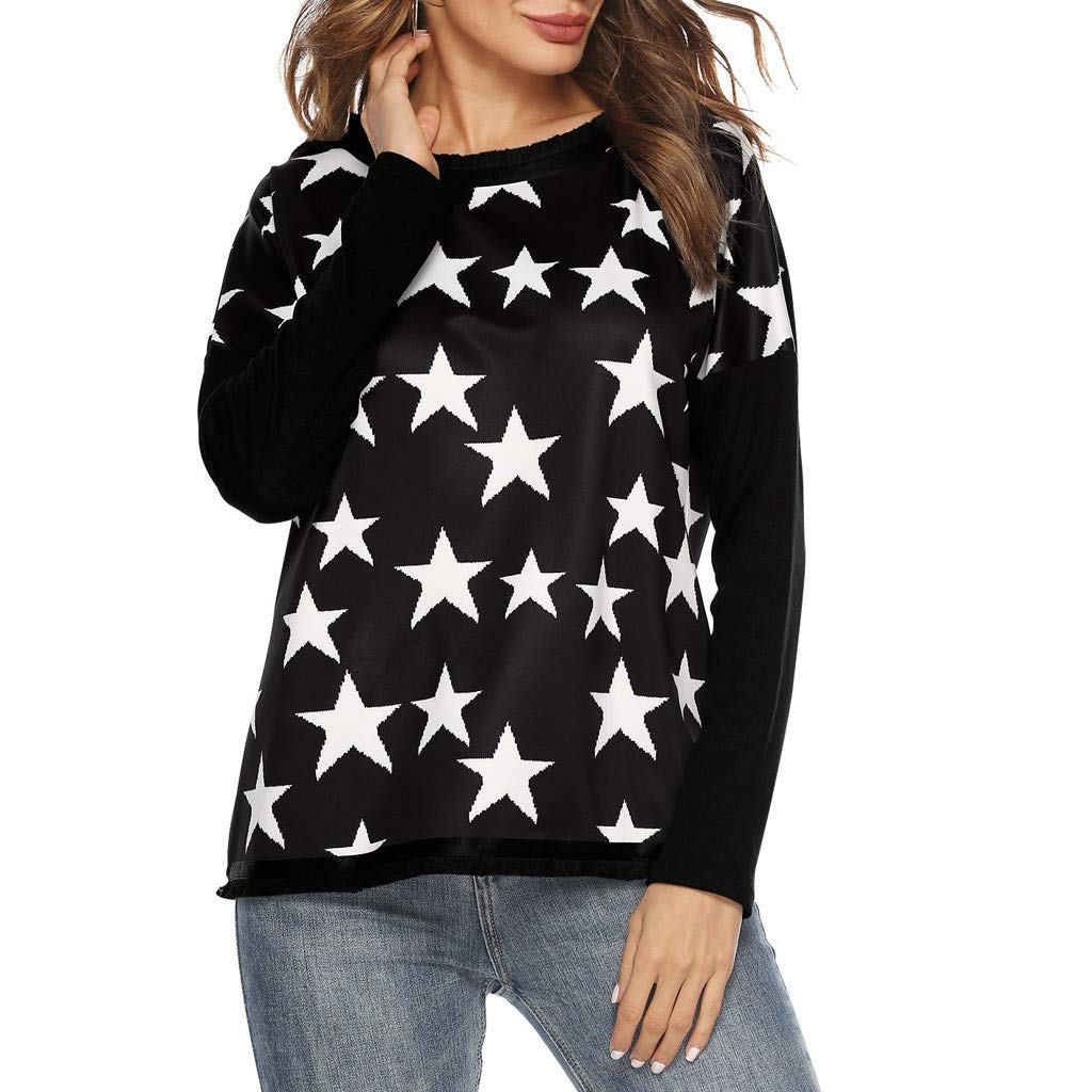 ce72a45b3e Amazon.com  Kanzd Women Blouse Women s Plus Size Star Print Shirt Long  Sleeve Blouse Round Neck Tassel Tops  Clothing