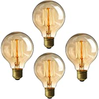Edison Ampoule 60 W Ampoule vintage, 220 V E27 Base Blanc chaud clair Pendentif ampoule Lot de 4