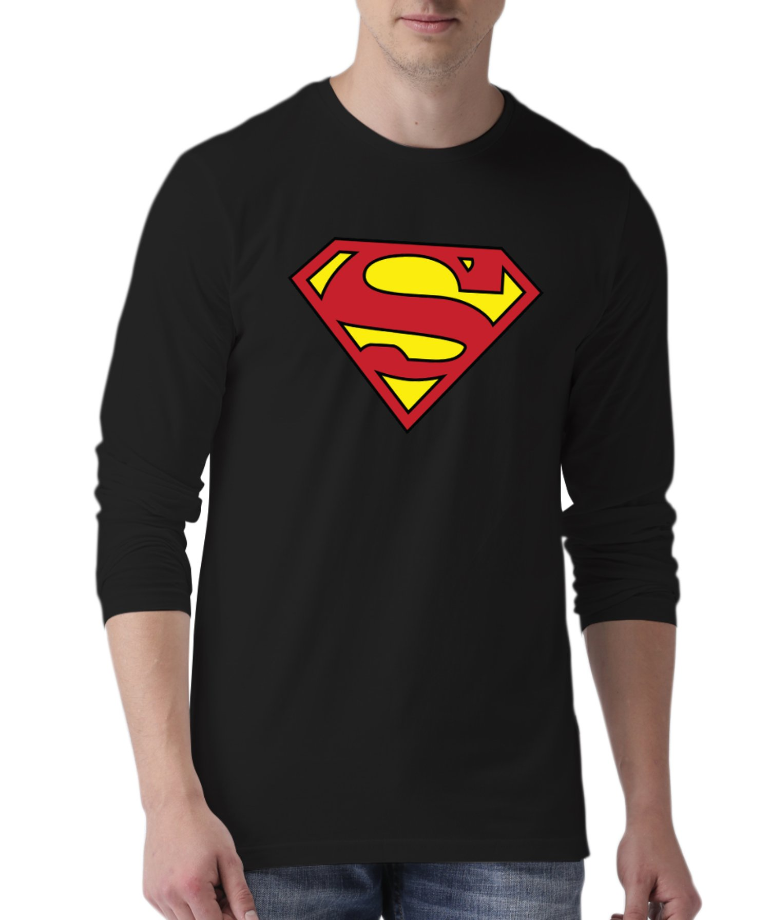 Black Mens Long Sleeve Shirts T Shirt | LGS Supermn XL