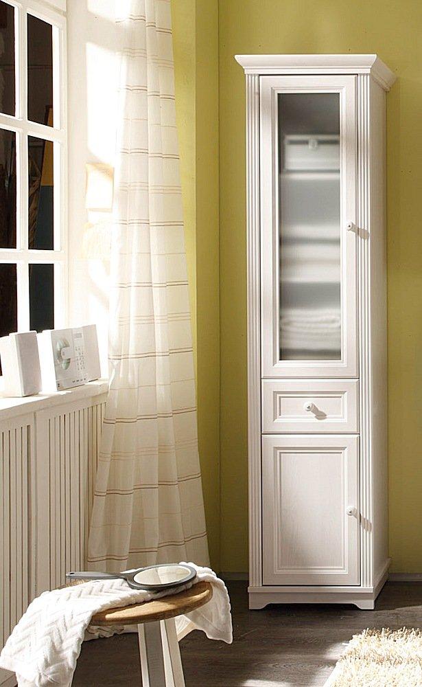 Badezimmer Hochschrank JASMIN Seitenschrank, Landhaus Lärche Weiß:  Amazon.de: Küche U0026 Haushalt