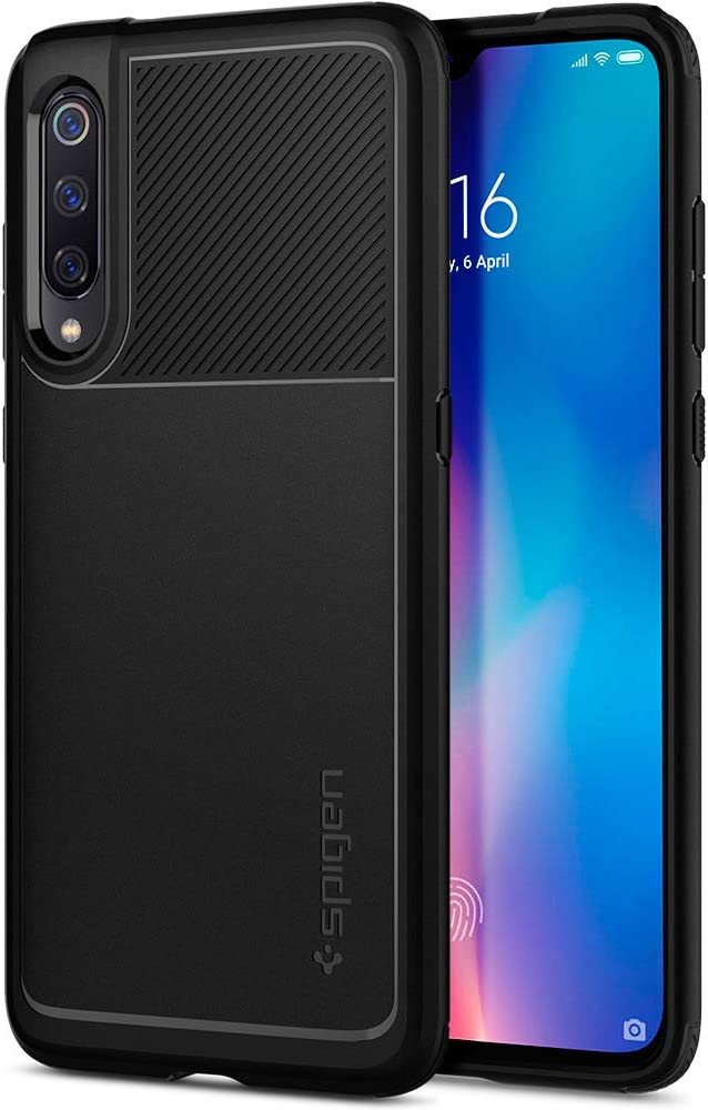 Spigen, Funda Compatible con Xiaomi Mi 9, [Rugged Armor] Absorción de Choque Resistente y diseño de Fibra de Carbono [Compatible con Carga Inalámbrica] - [Negro Mate].