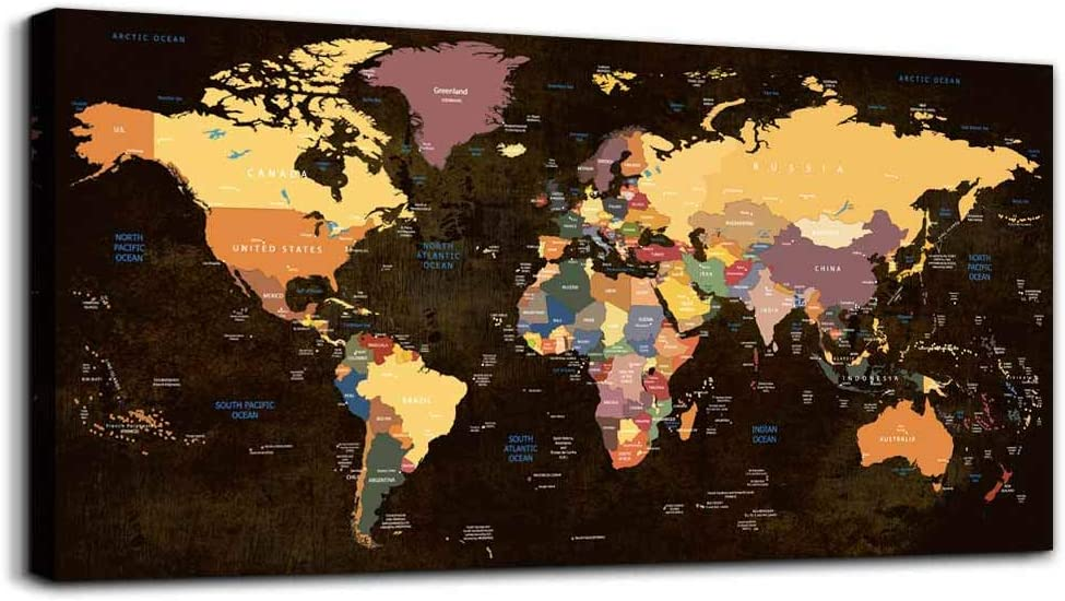 Canvas Wall Art for Office Wall Decor for Living Room,Large Size Black and White Vintage World Map Poster Printed ,Color Map Prints Printing Watercolor Framed Hotel Home Decoration Bedroom Artwork