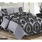 Super Luxury Damask Flock 4pcs Complete Bedding Sheet Set - 2 Pillow Cases/Valance Sheet/Quilt Cover - Silver Grey Black (Double Bed) by M Premier