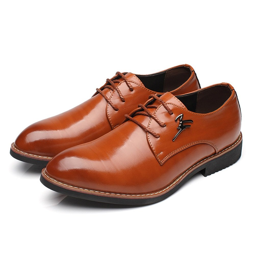 Mens Leather Shoes Formal Business Shoes Matte PU Leather Upper Lace Up Breathable Pointed Toe Lined Oxfords,Very Stylish Color : Wine, Size : 9.5 M US
