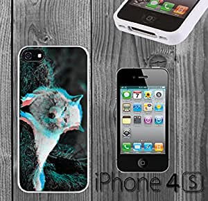 Trippy Wolf Effect Custom made Case/Cover/skin FOR iPhone 4/4s - White - Rubber Case ( Ship From CA)