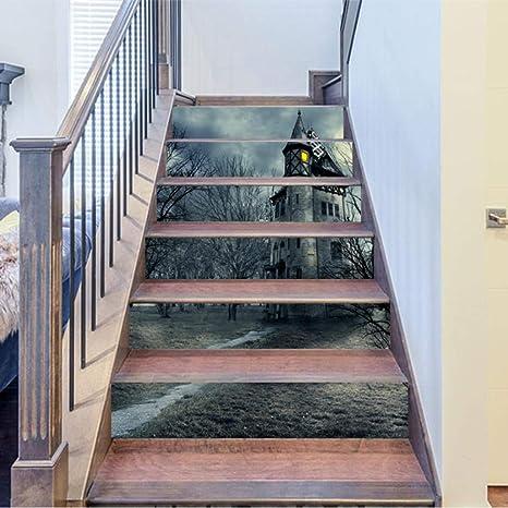 QJXX Pegatinas De Escalera Gloomy Castle Halloween Mural Pattern Escaleras 3D Pegatinas DIY Autoadhesivo Impermeable Escaleras Calcomanías 18 * 100Cm * 6 Piezas: Amazon.es: Deportes y aire libre