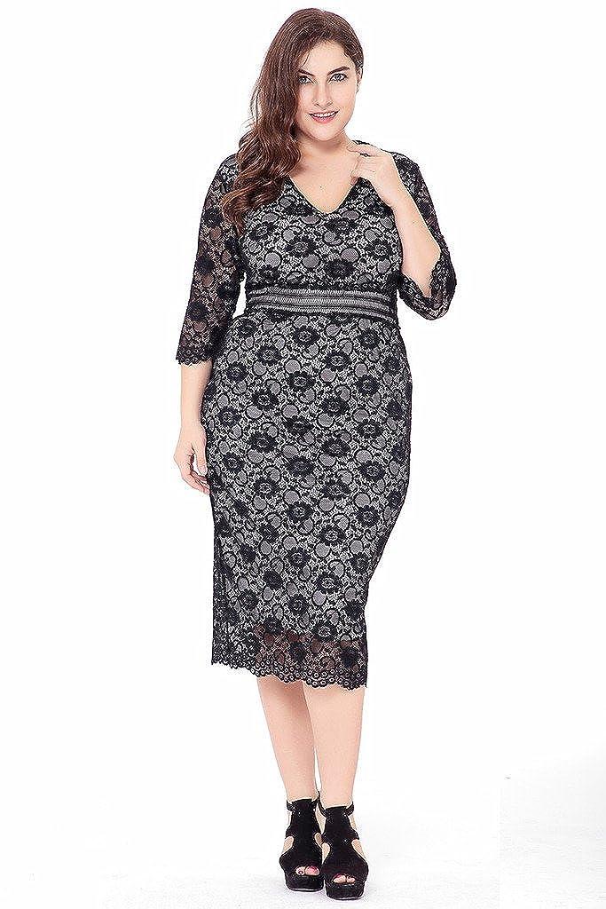 222a197182 Bigood Women Plus Size V neck Hollow Lace Long Dress Ladies Black Dresses   Amazon.co.uk  Clothing