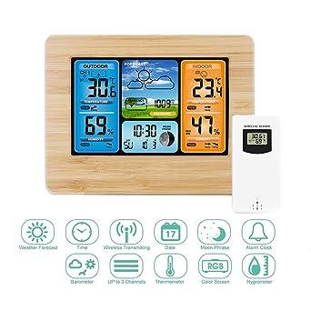 Estación meteorológica inalámbrica con sensor al aire libre,relojes de monitoreo del tiempo con visualización mínima/máxima del termómetro e ...