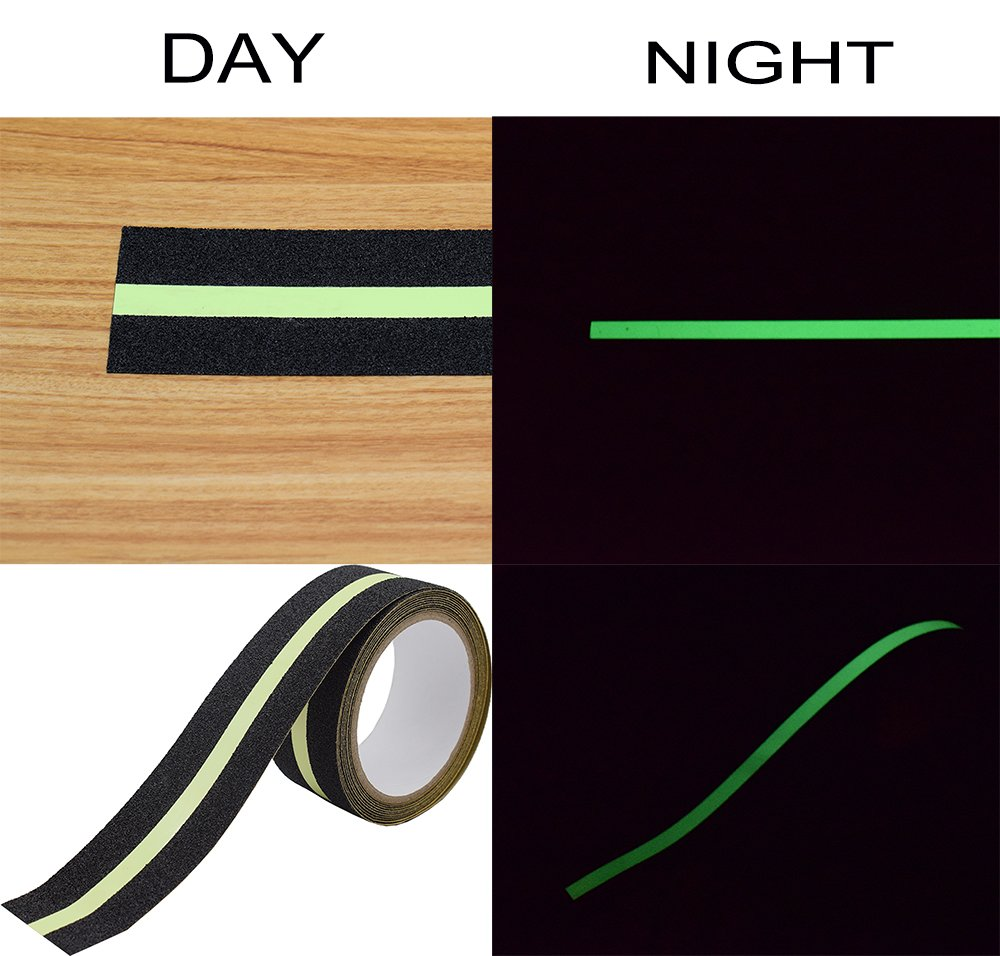 Anti Slip Tape Luminous , Yorwe Glowing in the Dark with Green Fluorescent Strips Safety Track Tape (2''width x 190''long,Luminous) by Yorwe (Image #4)