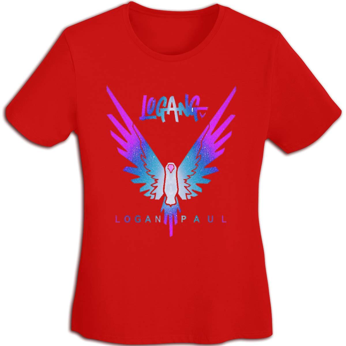 Women's T Shirt Jake Paul Logang Logan Paul Maverick Tee Shirts T-Shirt Short-Sleeve Round Neck Tshirt for Womens Girls Red XL by BKashy