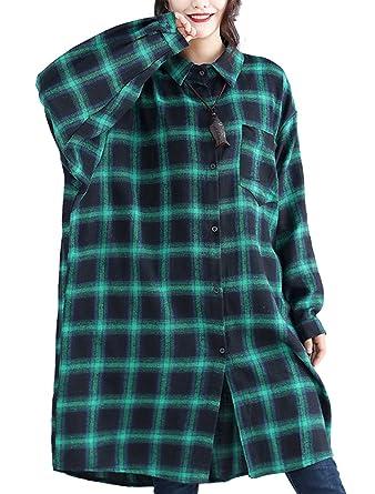 ebda9f6a95ea Mallimoda Women Oversized Plaid Blouse Long Sleeve T Shirts Green XL   Amazon.co.uk  Clothing