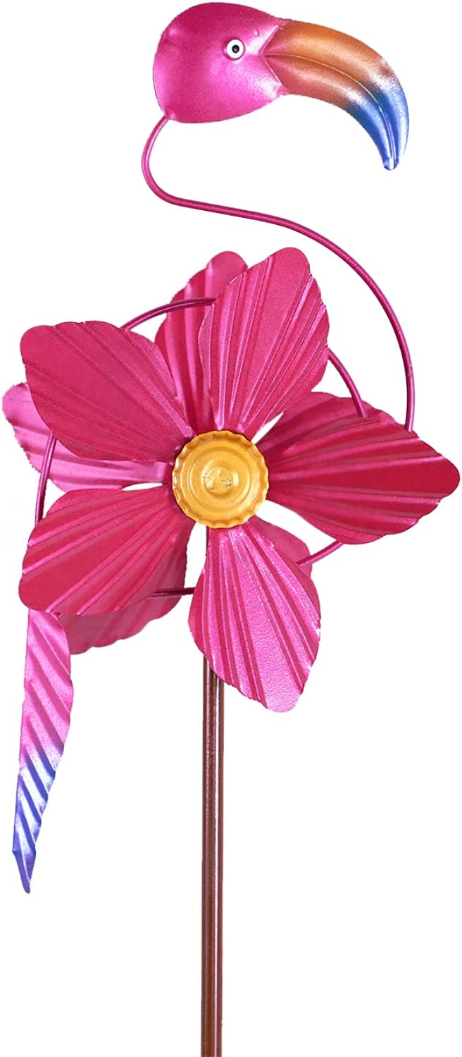 MorTime Flamingo Wind Spinner Garden Stake, 40 Inch Metal Pink Flower Flamingo Windmill Outdoor Decorative Flamingo Wind Sculpture for Spring Yard Lawn Pathway Decorations