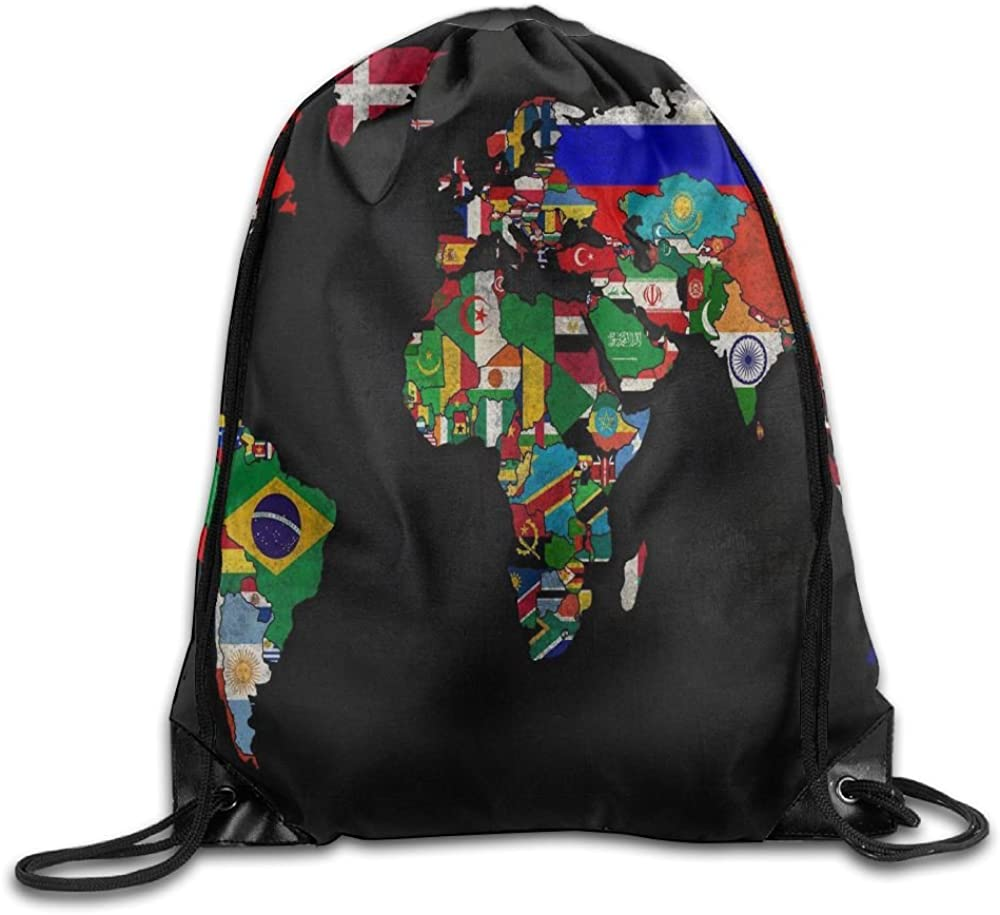 World Map Flag Personalized Gym Drawstring Bags Travel Backpack Tote School Rucksack 61NSm6X02pL
