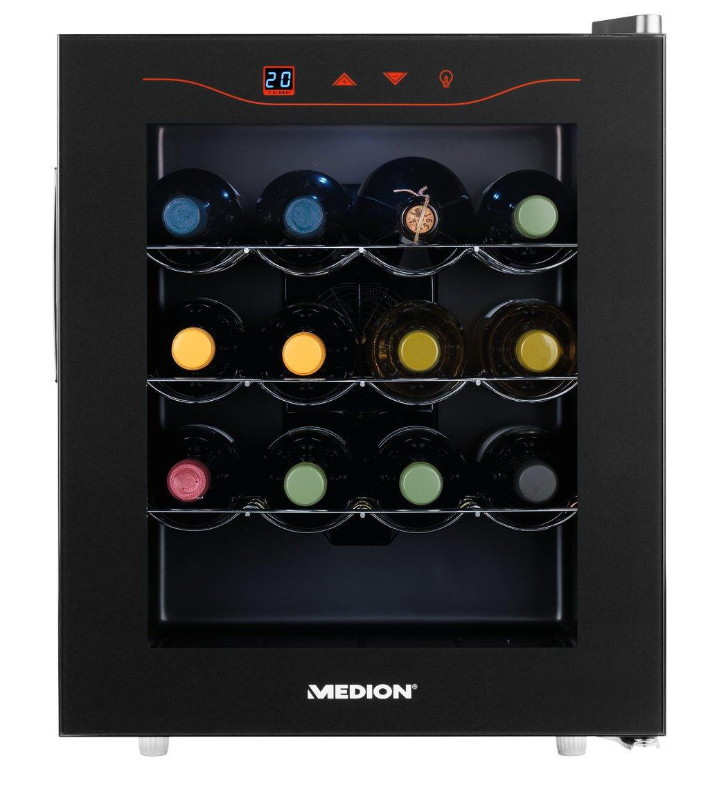 MEDION MD 15803 Minibar Weinkühlschrank, 46 Liter Volumen (16 Flaschen), 11-18° C Thermostat mit LED Touch Display, ohne Kompressor und Kältemittel, schwarz 50051075A1