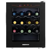 MEDION MD 15803 Minibar Weinkühlschrank, 46 Liter Volumen (16 Flaschen), 11-18° C Thermostat mit LED Touch Display, ohne Kompressor und Kältemittel, schwarz
