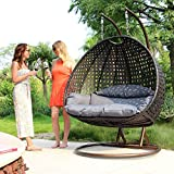 Luxury 2 Person Wicker Swing Chair with Stand and Cushion Outdoor Porch Furniture by Island Gale - Max.528 Lbs - 2 Stands for Extra Safety - Perfect for Patio Garden Indoor Bedroom Reading