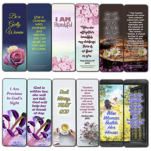 Devotional Bible Verses for Women Bookmarks (60 Pack) - Perfect Giveaways for Sunday School and Ministries Designed to Inspire Women (Bible Verse On Beauty Of A Woman)
