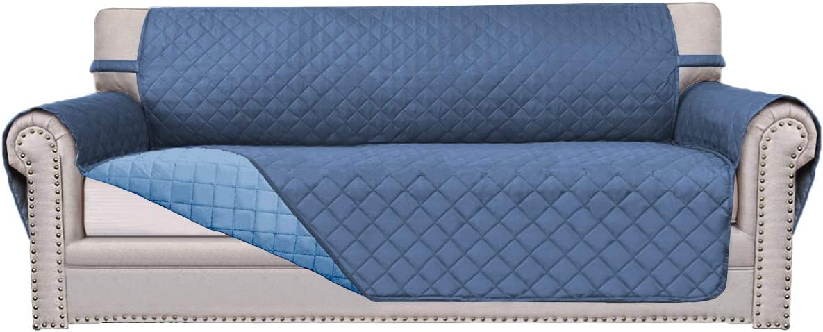 Easy-Going Sofa Slipcover Reversible Sofa Cover Furniture Protector Anti-Slip Foams Couch Cover Water Resistant Elastic Straps Pets Kids Children Dog Cat(Sofa, Dark Blue/Light Blue)