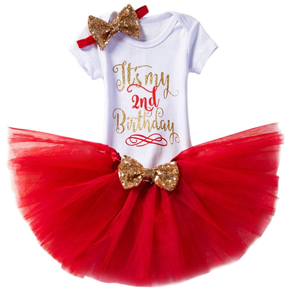 2nd Birthday Cake Smash Shiny Printed Sequin Princess Dress Romper Tutu Skirt With Bowknot Headband Leg Warmers 3pcs//4pcs Outfits Set Photo Shoot IWEMEK Newborn Baby Infant Toddler Girls Its My 1st