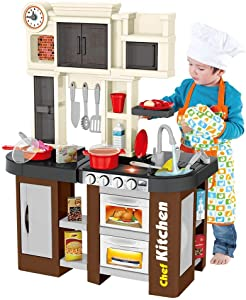 Deluxe Kitchen Playset, Mosunx Kids Play and Pretend Kitchen Set with Sound and Lights,Simulation Cooking Toys for Boys Girls Over 3 Years Old (Playset B - Brown, for 3Years Old +)