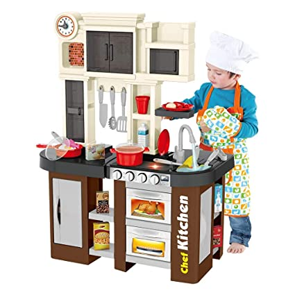 Wearefo Kids Kitchen Playset with Window and Running Water Sounds  Children\'s Kitchen Pretend Role Play Toys Cooking Set with Cabinet Stove  Babies Play ...