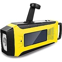 Emergency Solar Weather Radio, Esky Hand Crank Solar Charge Radio with AM/FM/ NOAA Radio, 2000mAh Rechargeable Battery, 3W Flashlight, SOS Alarm ES-CR03